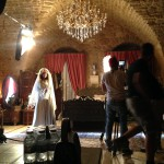 on set Sulafa Memar and crew